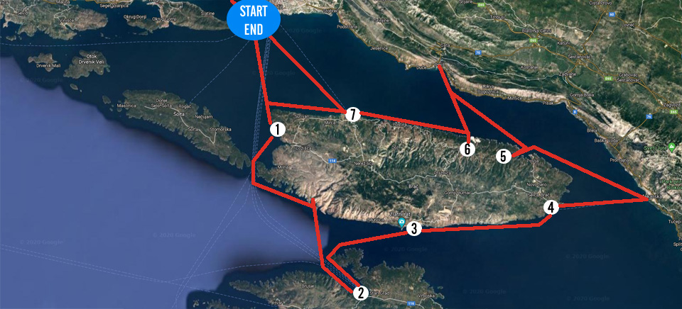Sailing route around island Brac